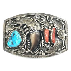 FJ FAUX CLAW BELT BUCKLE TURQUOISE CORAL