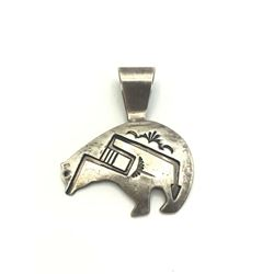 T. SINGER SIGNED NATIVE BEAR PENDANT .925