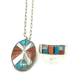 STAMPED ZUNI RING&NECKLACE CLASSIC COLORS