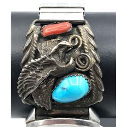 .925 MENS WATCH TIPS W EAGLE TURQ CORAL STONES