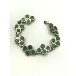STERLING TAXCO INLAY BRACELET GREEN STONES