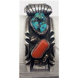 NAVAJO CUFF WATCH BAND w/TURQUOISE/CORAL