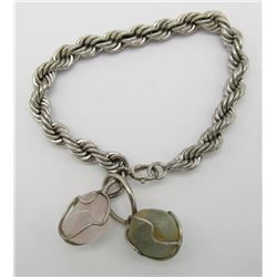 STERLING BRACELET WITH (2) NATURAL STONE