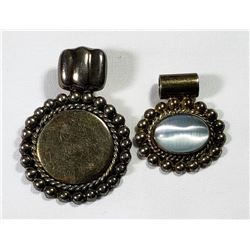 2-STERLING SILVER LARGE PENDANTS. (1)HAS CENTER