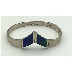 MEXICO STERLING BANGLE CUFF WITH LAPIS INLAY