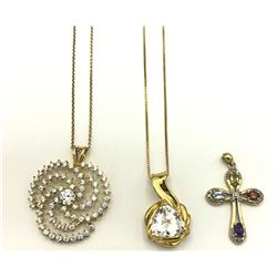 2 .STERLING GOLD TONE CHAINS + 3 PENDANTS