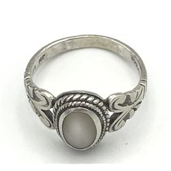 """RING WITH CLEAR/ WHITE STONE MARKED """"NF"""""""