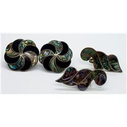 2-VTG ABALONE/STERLING EARRINGS SETS