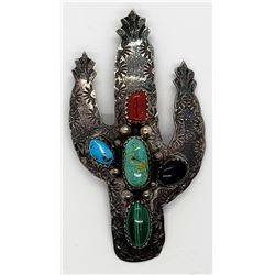 CACTUS PIN w/TURQUOISE/CORAL/STERLING