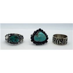 3-STERLING RINGS, 2-w/TURQUOISE STONES