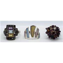 3-STERLING STATEMENT RINGS