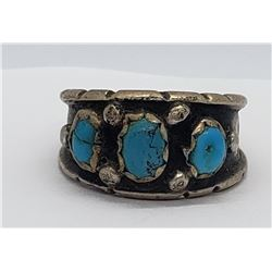 "STAMPED ""ML"" TURQUOISE / STERLING RING"