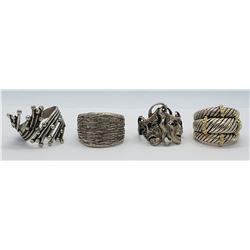 4-VIINTAGE STERLING RINGS (1)MARKED BEAU