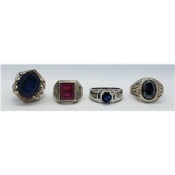 4-MEN'S STERLING RINGS WITH DEEP RED & BLUE