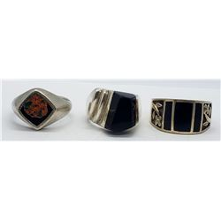 3-MEN'S STERLING RINGS WITH BLACK ONYX INLAY