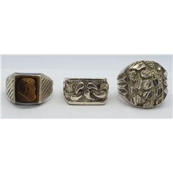 3-MEN'S STERLING RINGS (1)TROJAN ACCENT CNTR