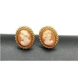 DANECRAFT 12K GOLD FILLED CAMEO EARRINGS