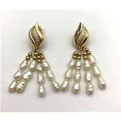 14K EARRINGS W MOTHER OF PEARL