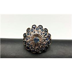 14K RING 3D BLUE STONE DESIGN SZ 6.5