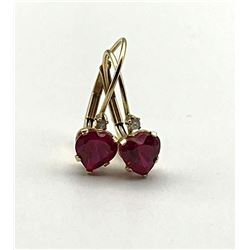 14K HEART EARRINGS W DIAMOND