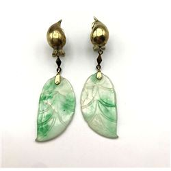 14K GOLD EARRINGS W DANGLE LEAVES