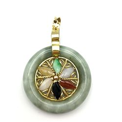 14K GOLD JADE CIRCLE PENDANT W MULTI
