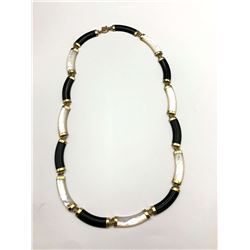 14K NECKLACE W MOTHER OF PEARL & BLACK