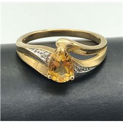 10K DIAMOND RING W ORANGE STONE SIZE 7