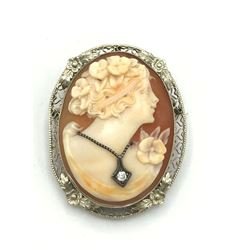14K GOLD CAMEO DIAMOND BROOCH
