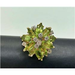 14K FLOWER RING GREEN STONES & DIAMONDS