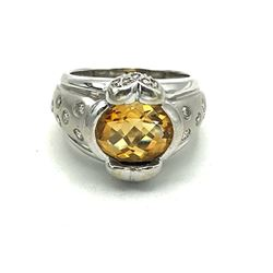 14K GOLD RING W ORANGE STONE & DIAMONDS