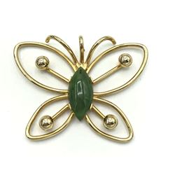 1/20 12K GOLD FILLED BUTTERFLY PENDANT W/ JADE