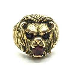 10K LION RING W RUBY STONES