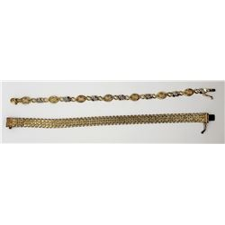 2-GOLD TONED STERLING BRACELETS (1)WOVEN