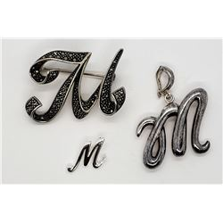 """STERLING """"M"""" INITIAL JEWELRY:  (1)MARCASITE"""