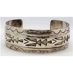 VINTAGE STERLING CUFF WITH NAVAJO ENGRAVED