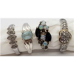 4-STERLING RINGS WITH MARCASITE, OPAL, LIGHT