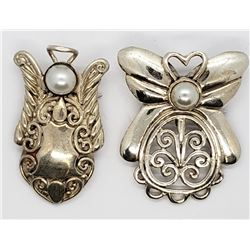 2-VINTAGE STERLING ANGEL BROOCH/PINS