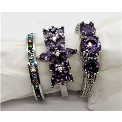3-STERLING RINGS WITH PURPLE STONE ACCENTS