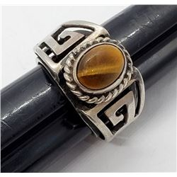 MEXICO STERLING TIGER EYE MEN'S RING SIZE 8