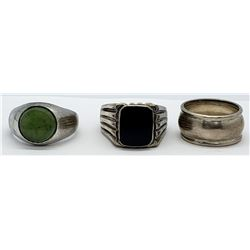 3-VINTAGE STERLING RINGS (1)JADE (1)BLACK ONYX