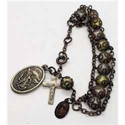 VINTAGE STERLING ROSARY BRACELET WITH