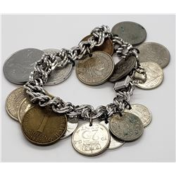 ELCO STELRING CHARM BRACELET WITH FOREIGN