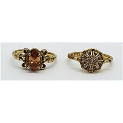 2-GOLD TONED STERLING RINGS WITH ORANGE &