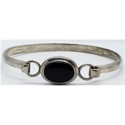 VINTAGE STERLING HINGED BRACELET WITH BLACK