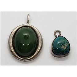 2-VINTAGE TEARDROP PENDANTS WITH GREEN
