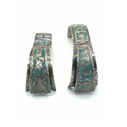 STERLING WATCH BAND TURQUOISE INLAY DESIGN