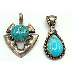 2 STERLING TURQUOISE PENDANTS