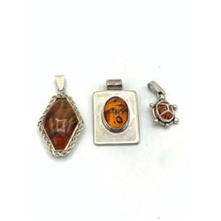 3 STERLING PENDANTS W/ BALTIC AMBER CNTR!