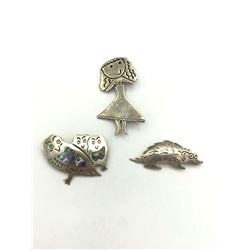 3 STERLING BROOCHES OWL, GIRL, PORCUPINE